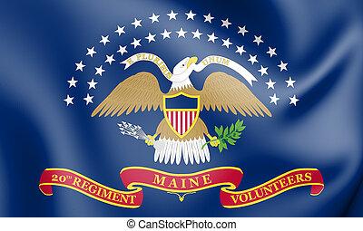 The 20th Maine Volunteer Infantry Regiment Flag. 3D...