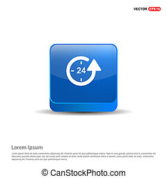 The 24/7 icon - 3d Blue Button