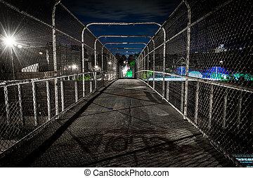 The 24th Street Pedestrian Bridge at night, in Minneapolis, Minnesota.