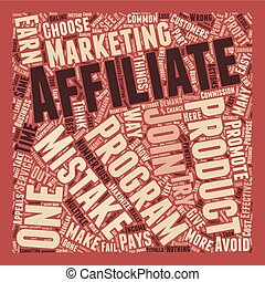 The 3 Most Common Affiliate Mistakes text background wordcloud concept