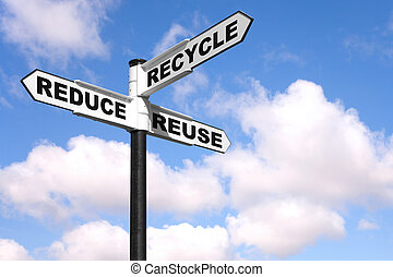 The 3 Rs signpost - Recycling concept image of a signpost...
