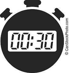 The 30 seconds, minutes stopwatch icon. Clock and watch, timer, countdown symbol. UI. Web. Logo. Sign. Flat design. App.