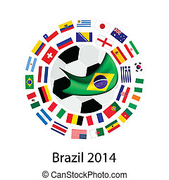 Brazil 2014, An Illustration of The Flags of 32 Nations Around A Soccer Ball of of Football World Cup in Brazil.