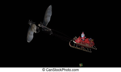 The 3D animation loop Santa Claus playing gift box on sledge flying reindeer flying include alpha background with PNG format.