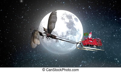 The 3D animation Santa Claus playing gift box on sledge flying reindeer have wing with Full moon and star in background include snow environment.