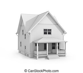 The 3D house. No color.