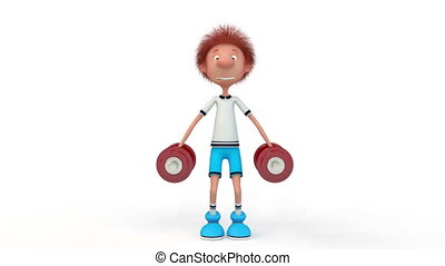 The 3D little boy with dumbbells. - The young athlete is ...
