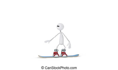 The 3D person on a snowboard. - The extreme type of winter...