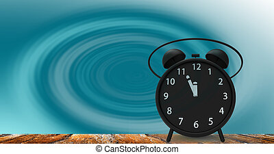 3d rendering of alarm clock with little minutes to twelve o'...