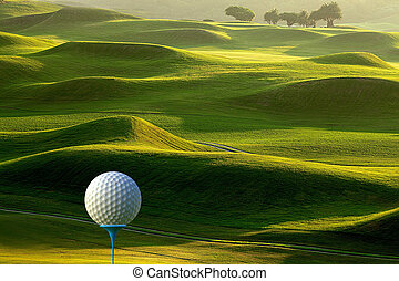 3d rendering of Golf ball on tee over a blurred green
