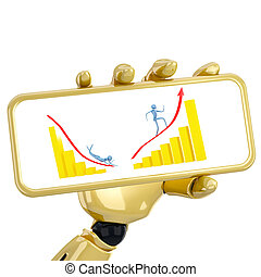 The 3d robotic hand hold a plate with golden graphs