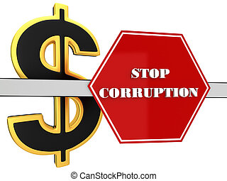 "The 3d sign of ""stop corruption"""