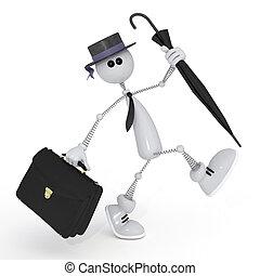 The 3D white little man with a portfolio. - The businessman...