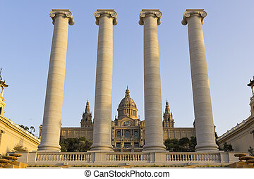 The 4 columns of MNAC and National Palace of Barcelona. Catalonia, Spain. BARCELONA - MAR 9. National Palace, on Mar 9, 2011 in Barcelona. The 4 columns of MNAC and National Palace. MNAC is the national museum of Catalan visual art located in Barcelona, Catalonia, Spain.