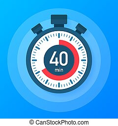 The 40 minutes, stopwatch vector icon. Stopwatch icon in flat style, timer on on color background. Vector illustration.