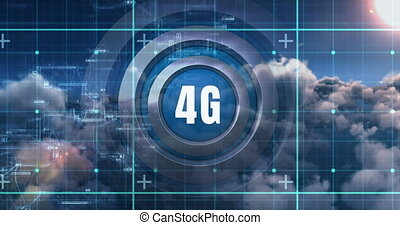 The 4G Revolution 4k - Front view of 4G technology symbol ...