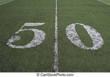 The 50 yard line - the 50 yard line where the playing field...