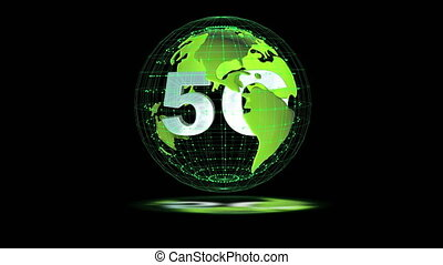 The 5g symbols rotate inside the earth model, the video loop
