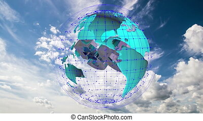 The 5g symbols rotate inside the earth model against the...