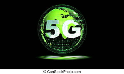 The 5g symbols rotate inside the earth model, the video loop, the alpha channel