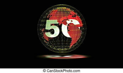 The 5g symbols rotate inside the earth model, the video loop...