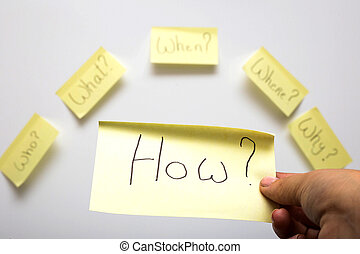 The 6 Ws who, what, when, where, why, how question on six sticky notes on textured desk wood isolated on white background