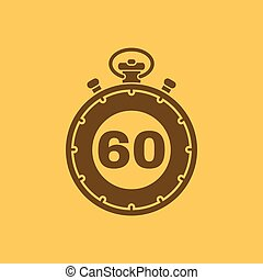 The 60 seconds, minutes stopwatch icon. Clock and watch, ...