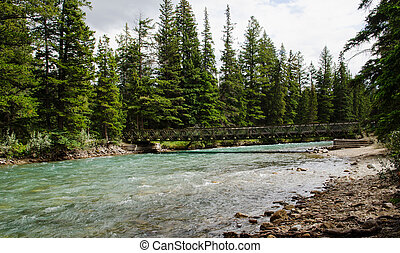 The 6th bridge of the Maligne Canyon just before the Maligne...