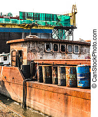 old rusty ship - The abandoned old rusty ship in the ...