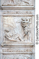 The Abel killing, Genesis relief on portal of Saint Petronius Basilica in Bologna, Italy