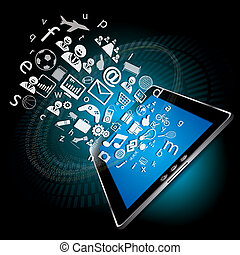 Social Network Connectivity on tablet concept vector