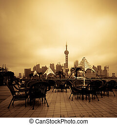 shanghai - the abstract background of the shanghai city of...