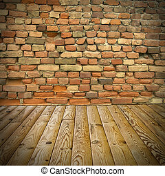 pine floor and brick wall