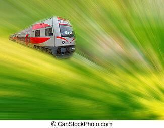 The abstract high speed modern commuter train, motion blur