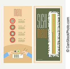 The abstract image of a menu with sushi