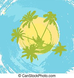 The abstract island at the ocean with palm trees..eps
