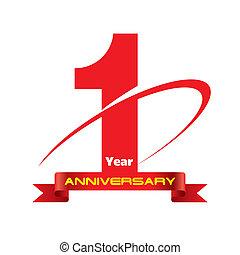 1 year anniversary creative concept vector