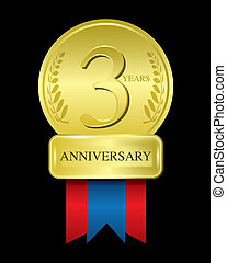 3 years anniversary gold medal