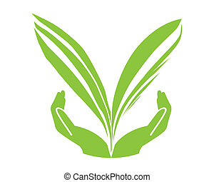 Eco green leaf with hand concept