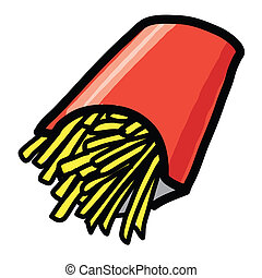 French fries - Hand draw - The abstract of French fries -...