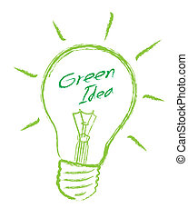 Light bulb green idea vector