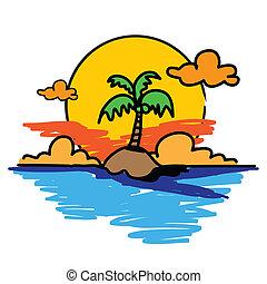 palm tree on the island hand drawn