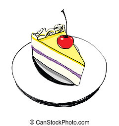 Piece of cake vector - hand drawn