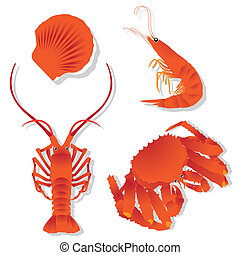 Seafood: shrimp, crawfish, crab, Scallops - The abstract of...
