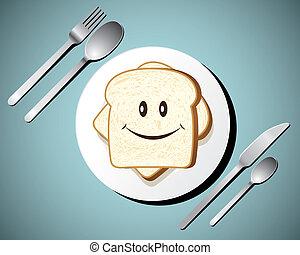 Toast on white plate,