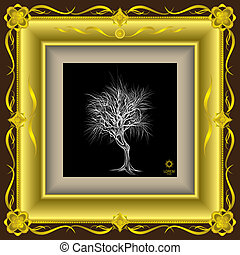 tree hand - drawn in gold frame vector