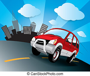 Vector car in the road - The abstract of Vector car in the...