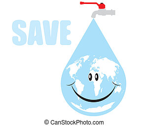 Vector earth water drop - The abstract of Vector earth water...