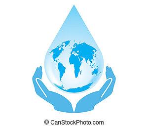 Vector earth water drop with hands