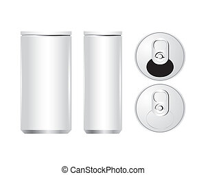 Vector of cans with the ring pull.